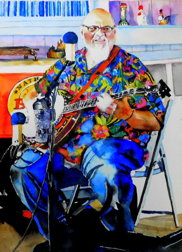 Man Playing Banjo Watercolor Painting Kathleen M Ward