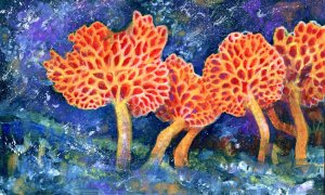 Mushroom Fantasy-Gouache over Casein on Cézanne Watercolor Paper #miyaarts @Hahnemühle_USA #gouach