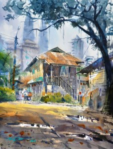 OLD HOUSE AT KAMPUNG BARU #1 watercolour landscape by Abey Zoul