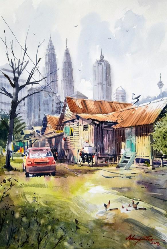 OLD HOUSE AT KAMPUNG BARU #2 Watercolor landscape