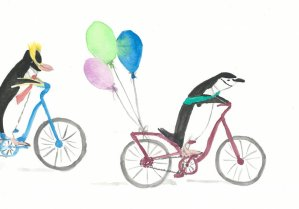Some favorite birds for a birthday card Penguins on Bicycles