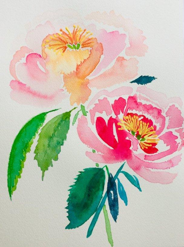 Pink Flowers Watercolor Painting