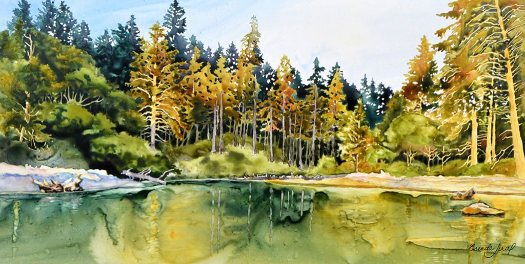 Sunlit Shore - Landscape Water and Trees Watercolor Painting by Brenda Jiral