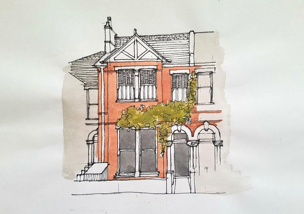 Terraced House Twickenham Watercolor Illustration