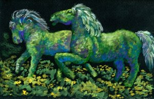 Topiary Horses. I love googling 'topiary' to get inspiration for my stylized landscapes.
