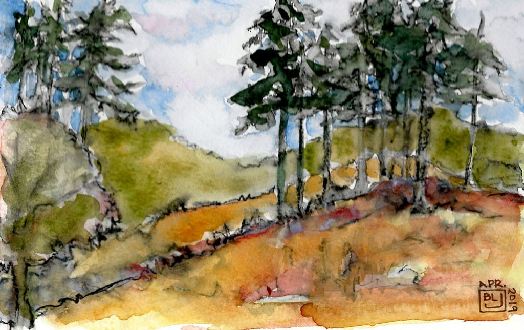 Trees Hills watercolor landscape painting