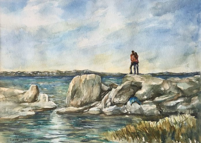 Two People Rocks And Water Seaside Landscape Watercolor Painting by Jensen Cheong