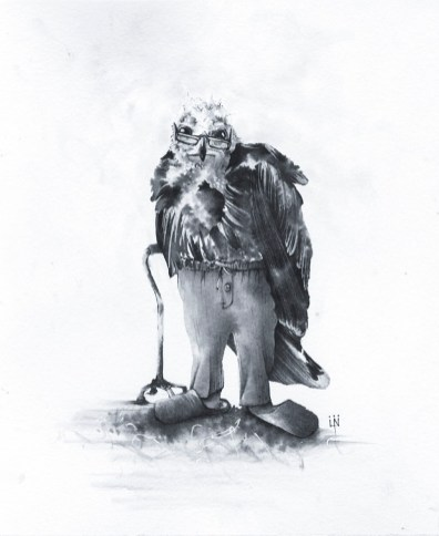 Ancient Hawk Ink Drawing