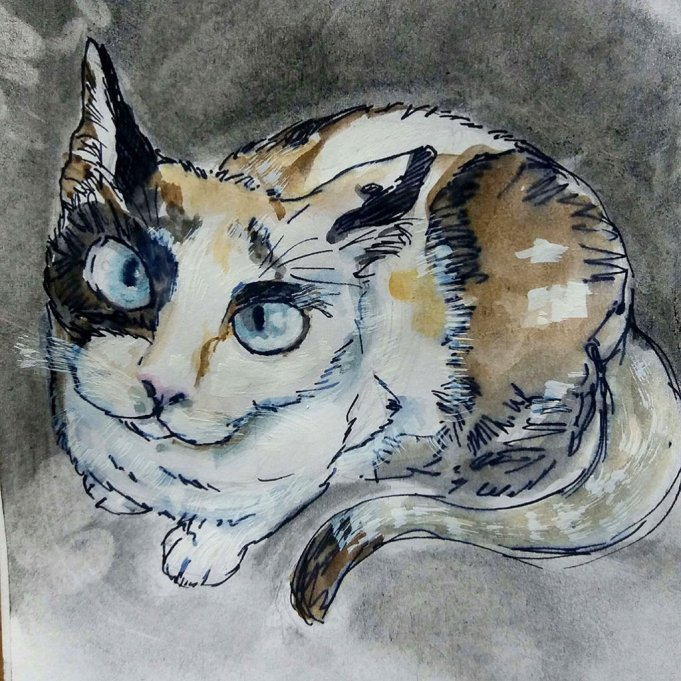 Cat Watercolor Painting by Silvia Elena Pastor