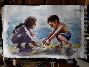 """""""CHILDREN"""", The 14th Day of November Art Challenge 2019, Watercolor painting/sketch on s"""