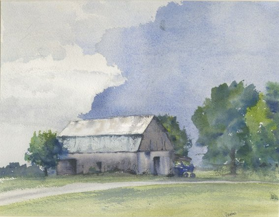 Coldfront barn sky watercolor painting by Lori Nass