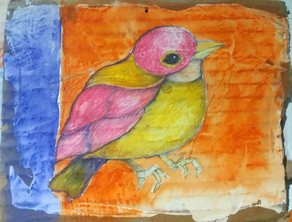 Colorful bird watercolor