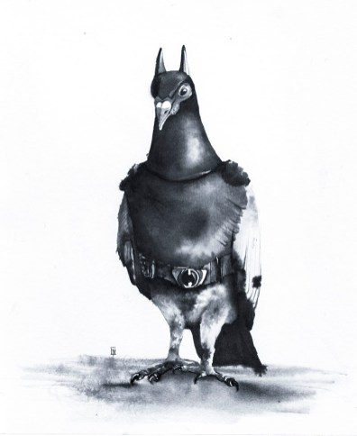DarkPigeon Ink Drawing by Lori Nass