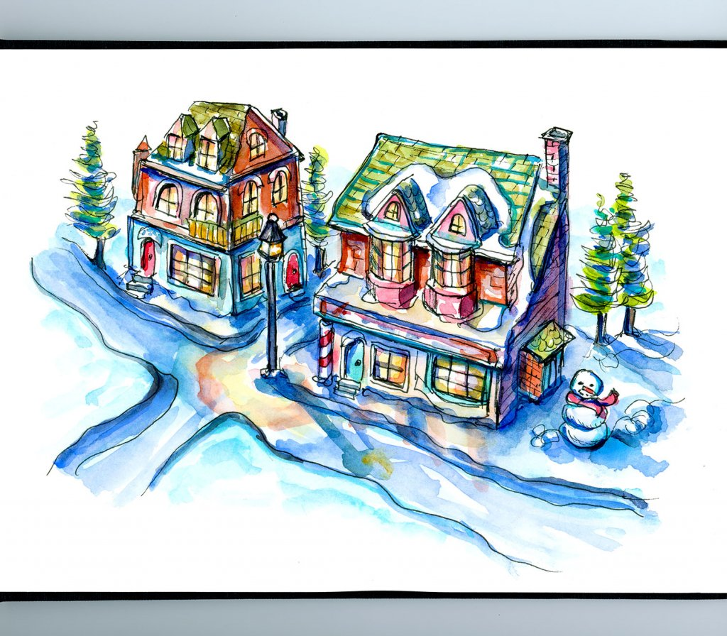Christmas Village Watercolor Illustration Sketchbook Detail