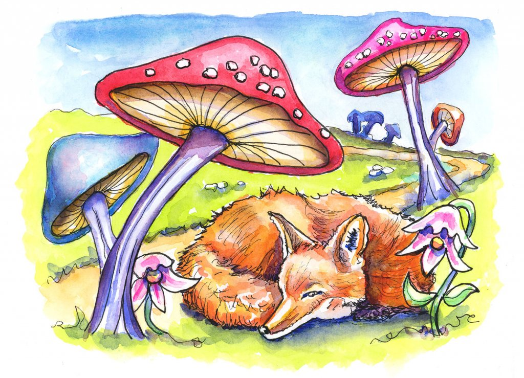 Day 30 - Fairytale Mushroom Fox Watercolor Illustration