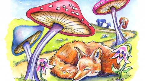 Day 30 - Fairytale Mushroom Fox Watercolor Illustration