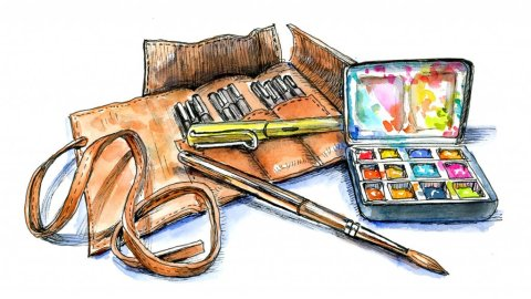 Drawing Pen And Ink Watercolor Supplies Illustration
