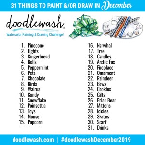 Doodlewash December 2019 Watercolor Drawing Art Challeng prompts