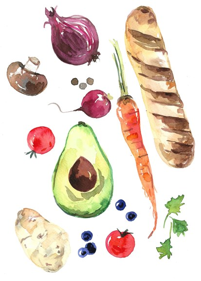 Food watercolor painting by Anna Koliadych