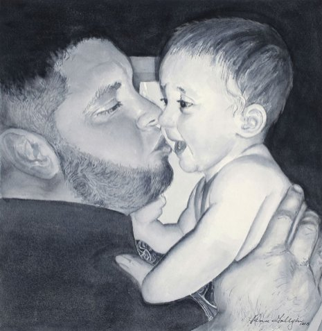 Watercolor Portrait Black And White Man And Baby