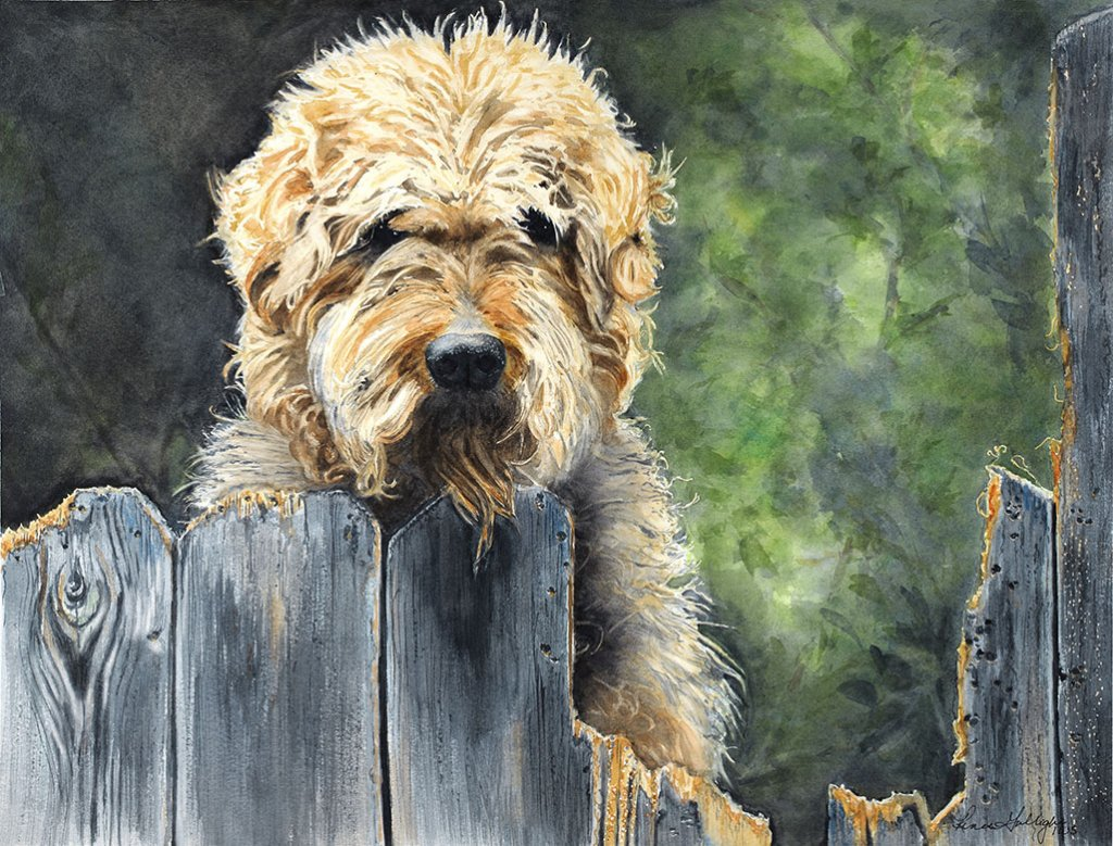 Don't Fence Me In Dog Pet Portrait Watercolor Painting
