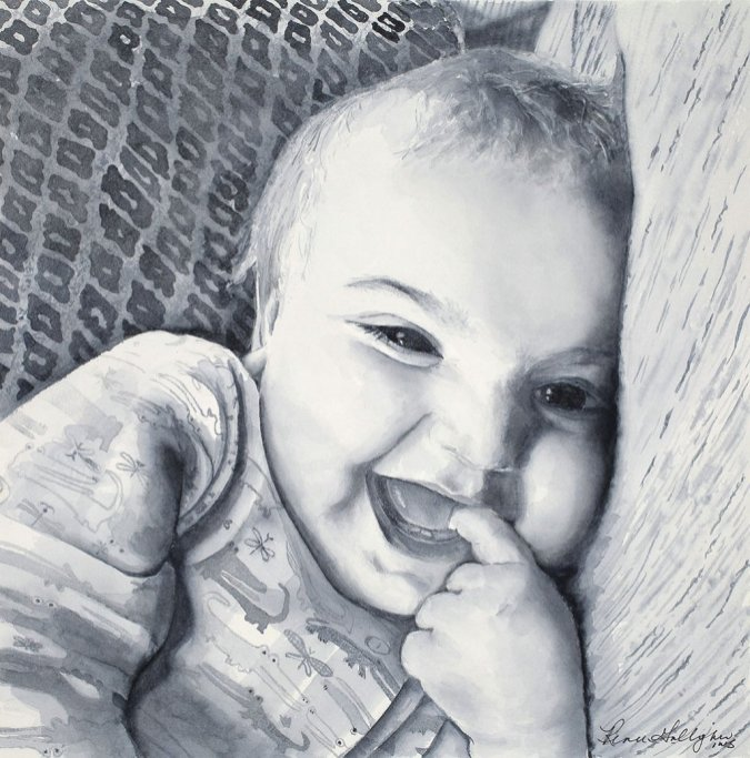 Laughing Baby Watercolor Portrait Painting