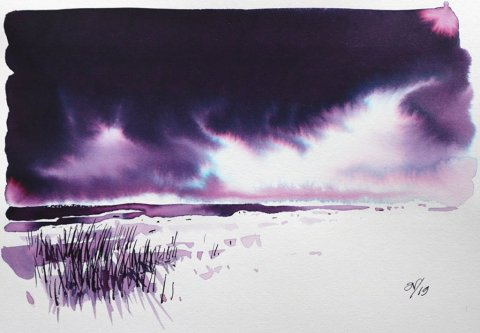 Nick Stewart Fountain Pen Ink Art obert Oster Barossa Grape Landscape