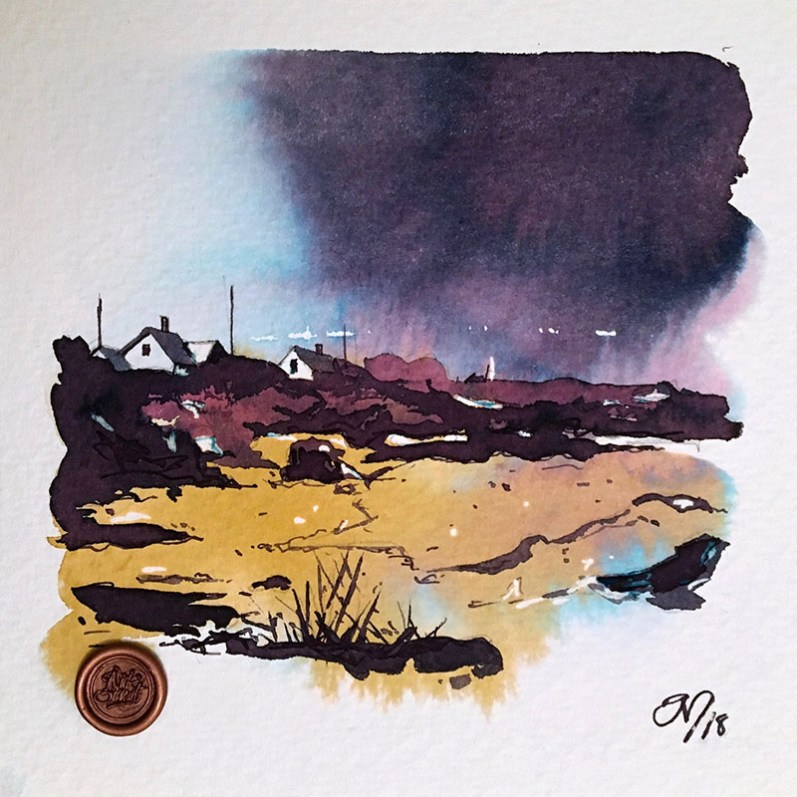 Robert Oster Ink Art Beach Landscape