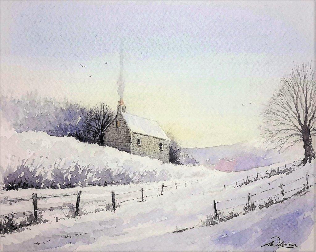 """ Winters Cottage "" Andrew Lucas Watercolour, 19 x 23 cm, I hope you enjoy. Winters Cott"