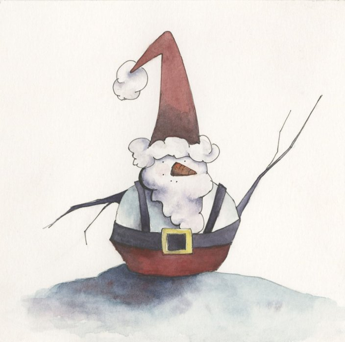 snowsanta watercolor by Lori Nass