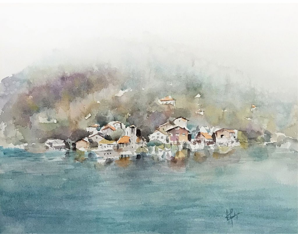 switzerland landscape watercolour by Vidya Lalgudi Jaishankar