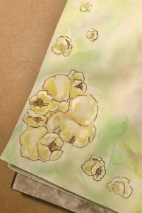 Who knew drawing popcorn would end up being kind of challenging? Here's my best shot. #doodlewashD