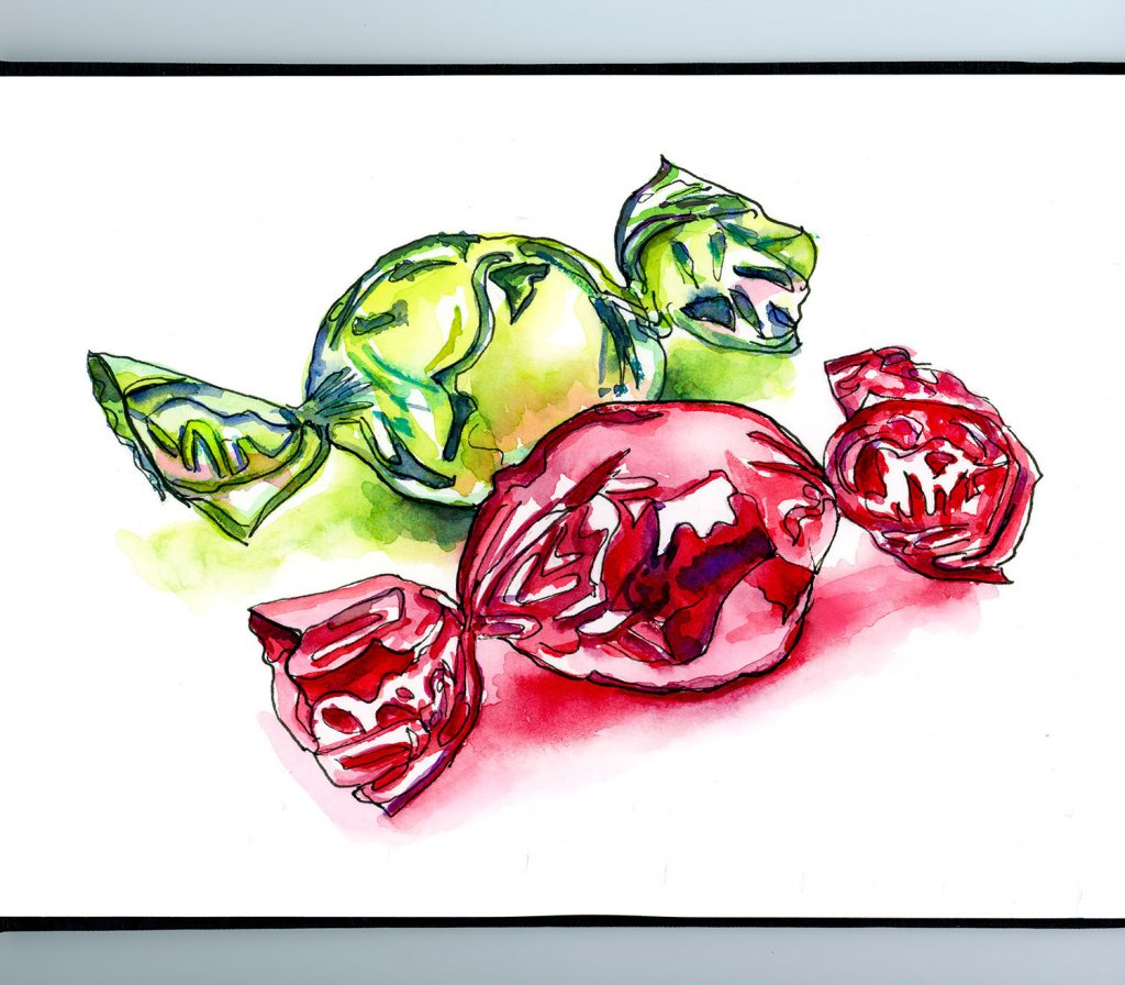 Christmas Foil Wrapped Candy Watercolor Illustration Sketchbook Detail