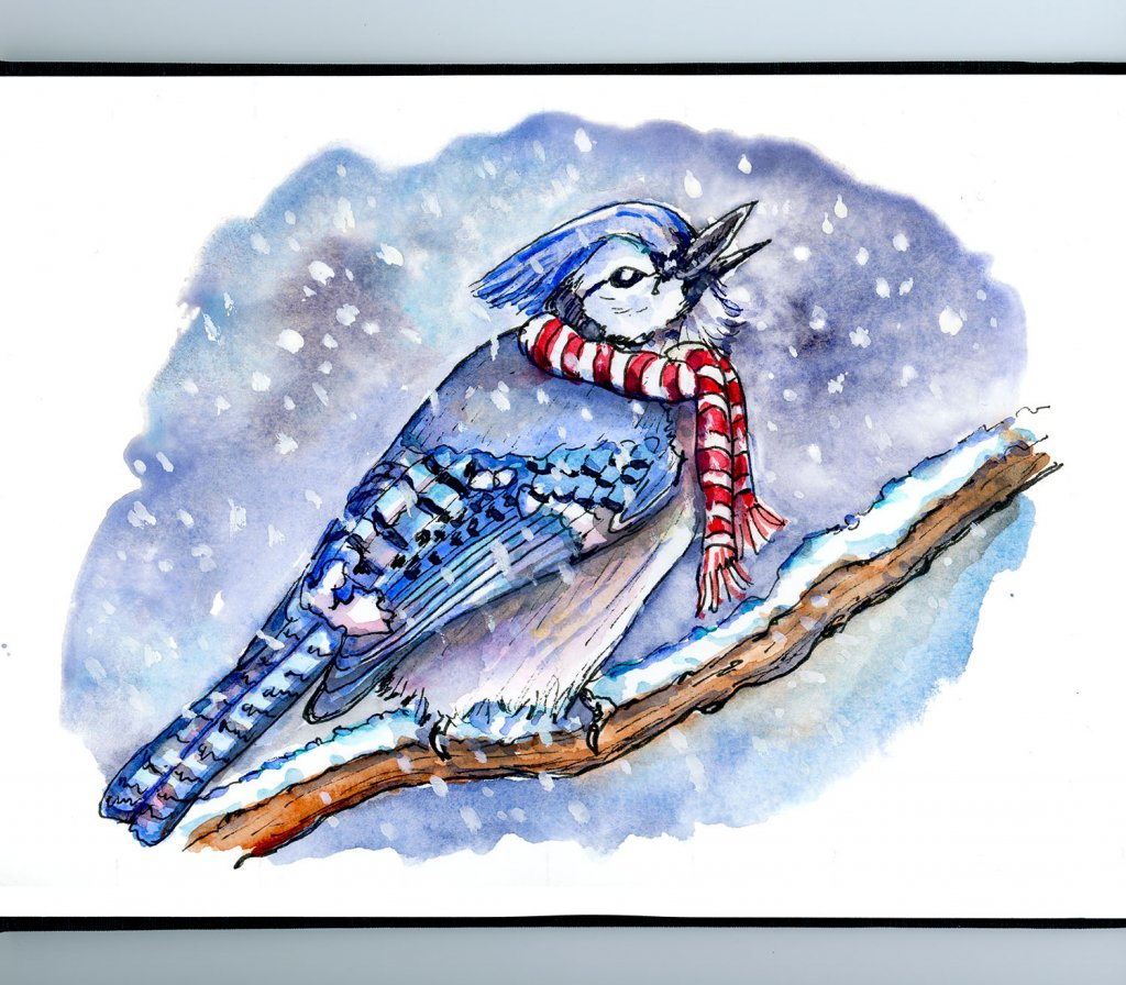 Bird Catching Snowflakes Watercolor Illustration Sketchbook