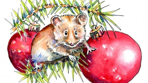 Mouse Christmas Tree Ornaments Watercolor Illustration