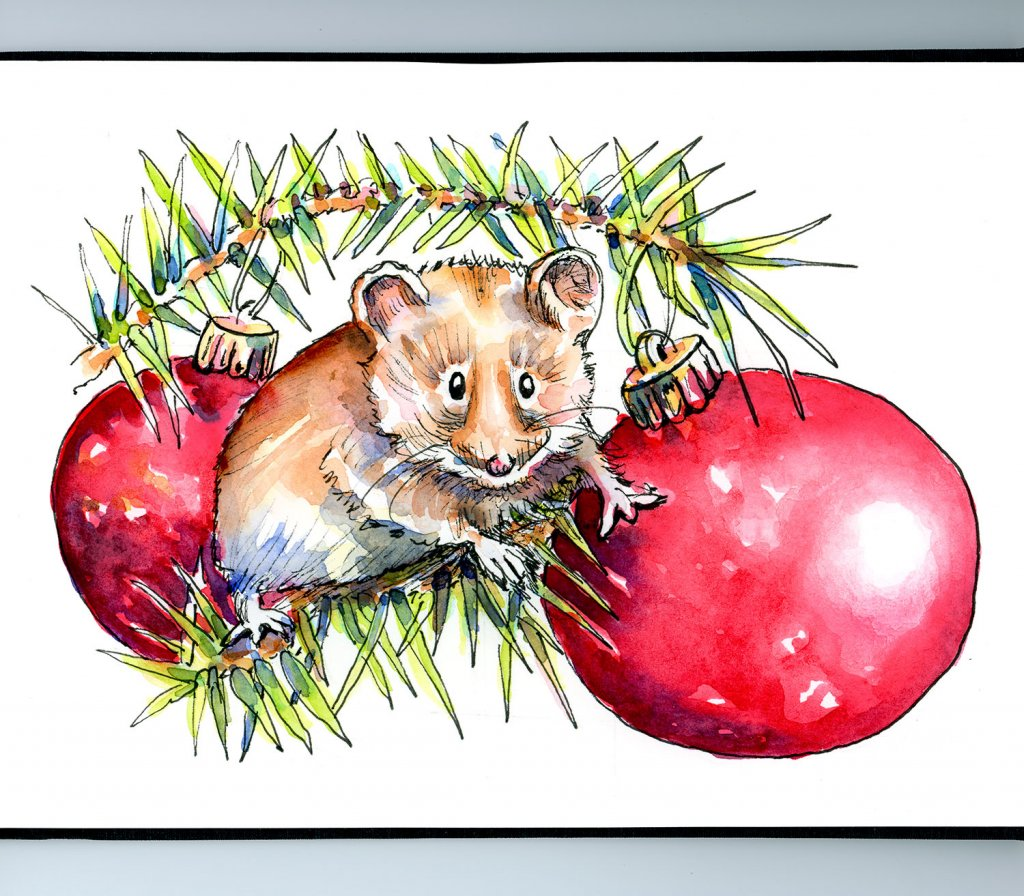 Mouse Christmas Tree Ornaments Watercolor Illustration Sketchbook Detail
