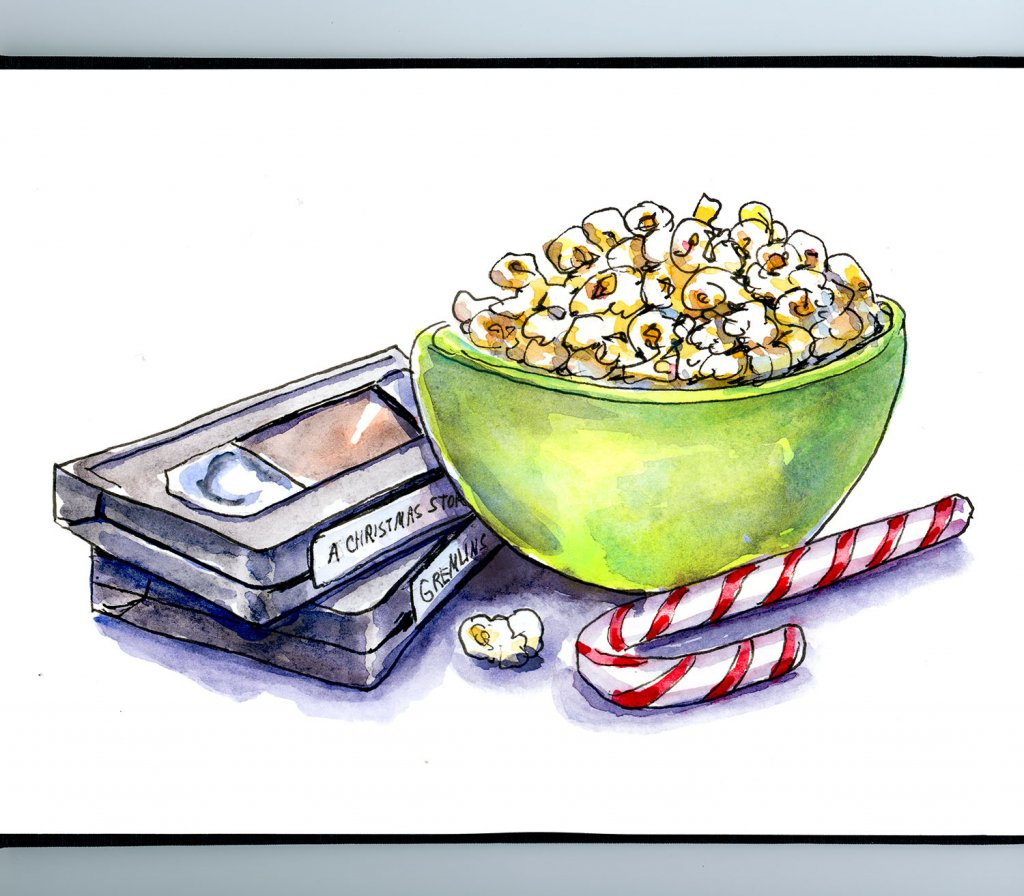 Christmas Movies VHS Tapes Popcorn Watercolor Illustration Sketchbook Detail