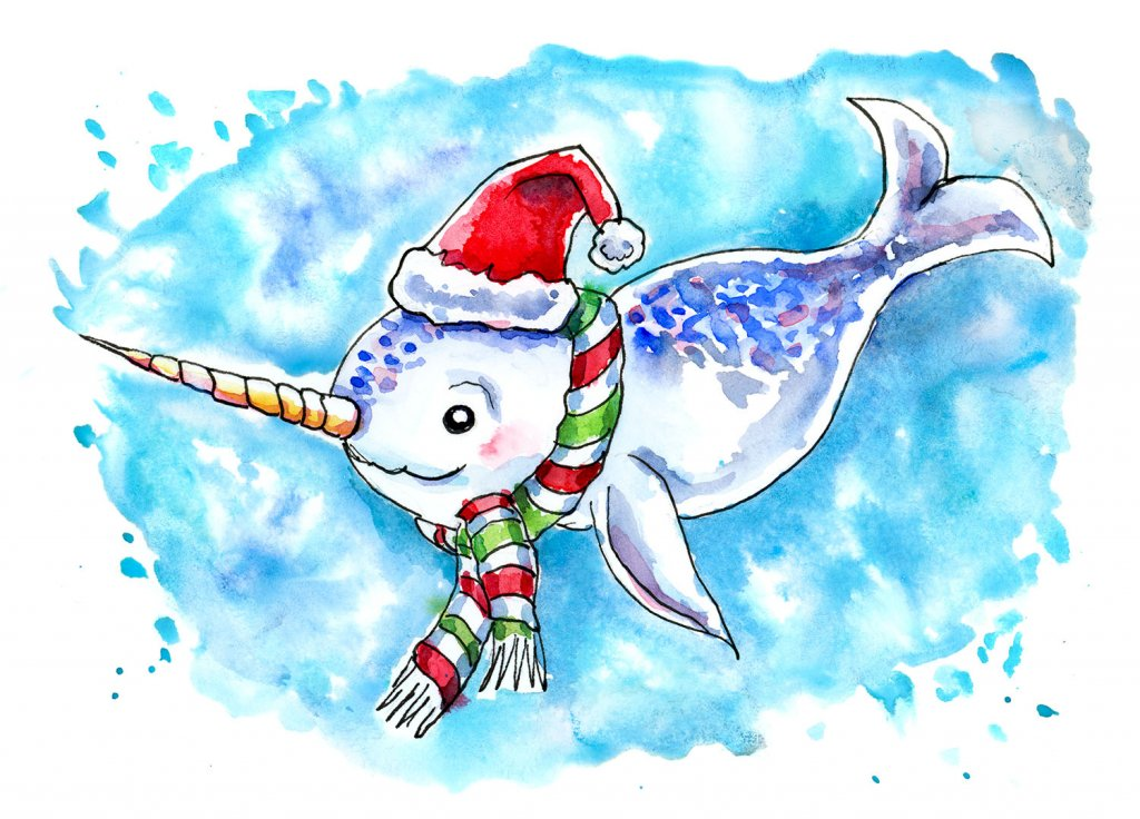 Narwhal Christmas Watercolor Illustration