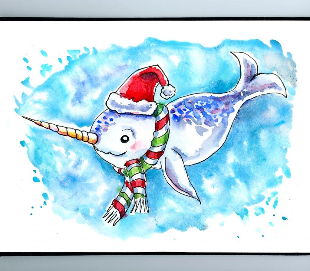 Narwhal Christmas Watercolor Illustration Sketchbook Detail