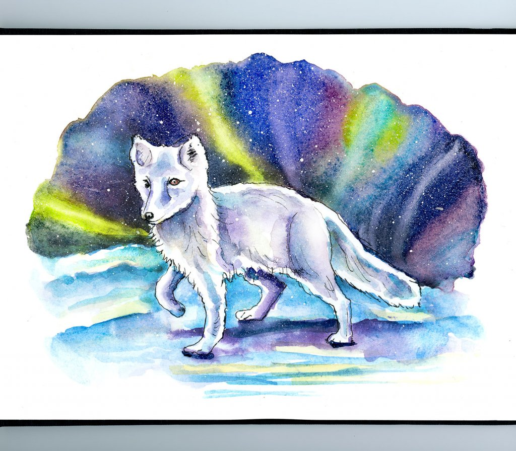 Arctic Fox Northern Lights Watercolor Painting Sketchbook Detail