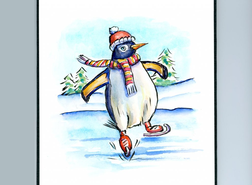 Penguin Ice Skating Watercolor Illustration Sketchbook Detail