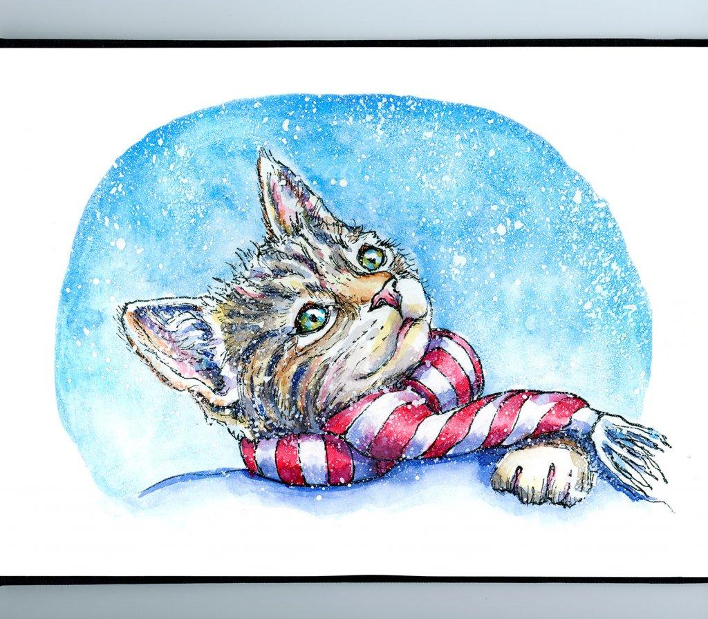 Kitten Cat Wearing Scarf Watercolor Painting Sketchbook Detail