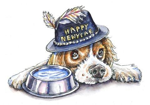 Dog Portrait Happy New Year 2020 Watercolor Illustration
