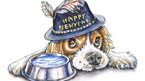 Dog Portrait Happy New Year 2020 Watercolor Illustration