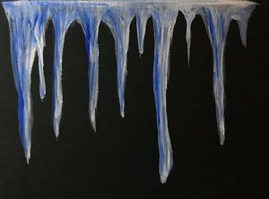 Dec. 30 watercolor on black multipurpose paper by Clairefontaine (day 28 Icicles) Day30_28Icicles_wa