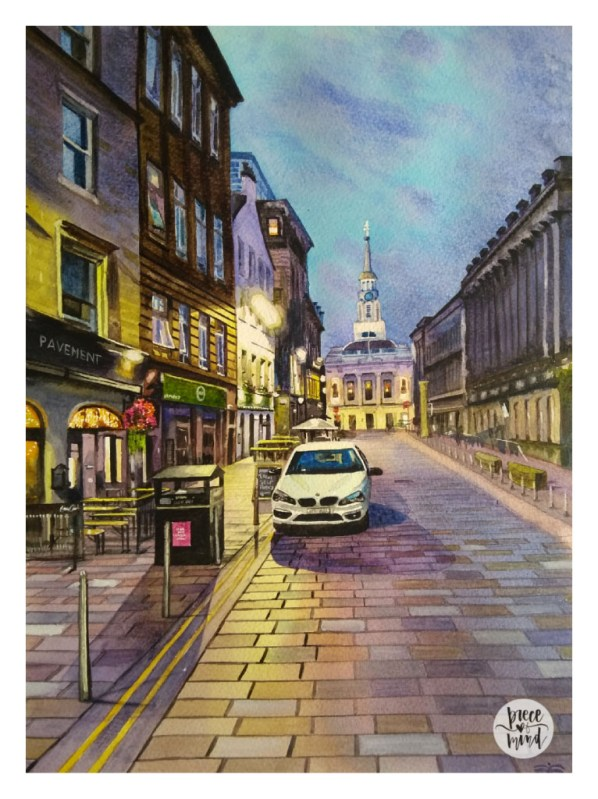 Glasgow Scotland Piece Of Mind Vasundhara Watercolour Night Scene