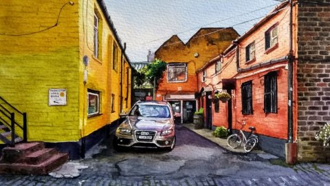 Houses and Car Watercolour Painting_Lead Cropped