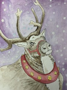 Ok. I am trying to catch up, so here's my reindeer who appears to be waiting for the call from