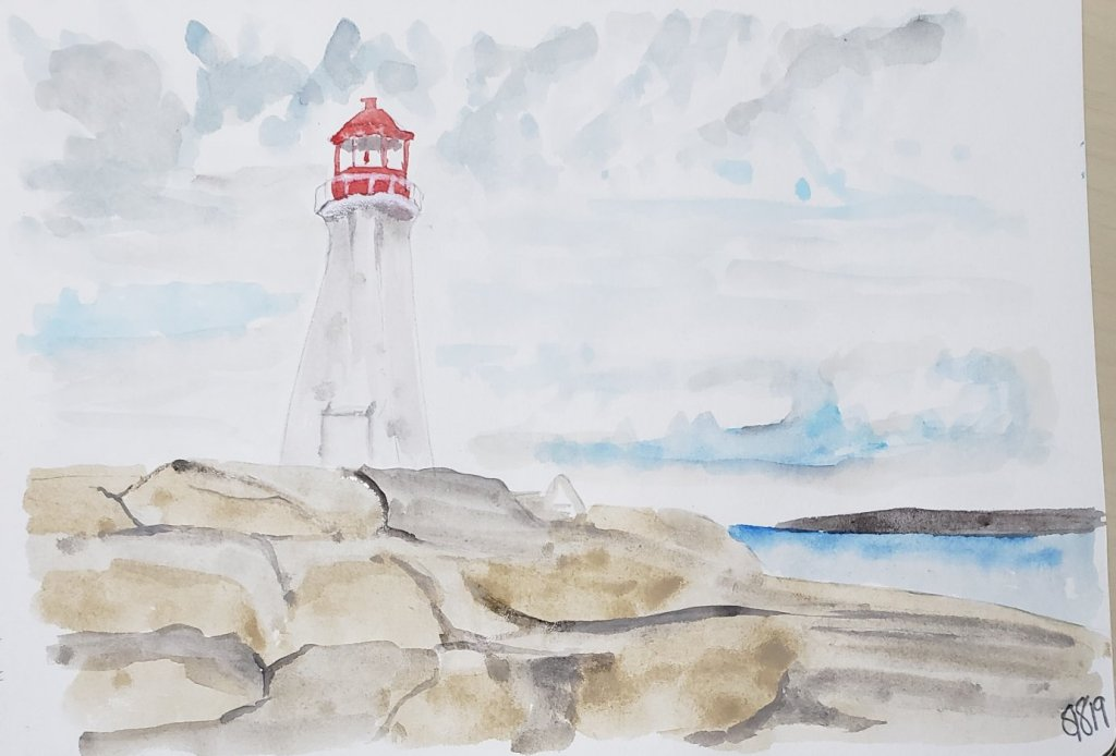 Lighthouse Watercolor by Shanyn