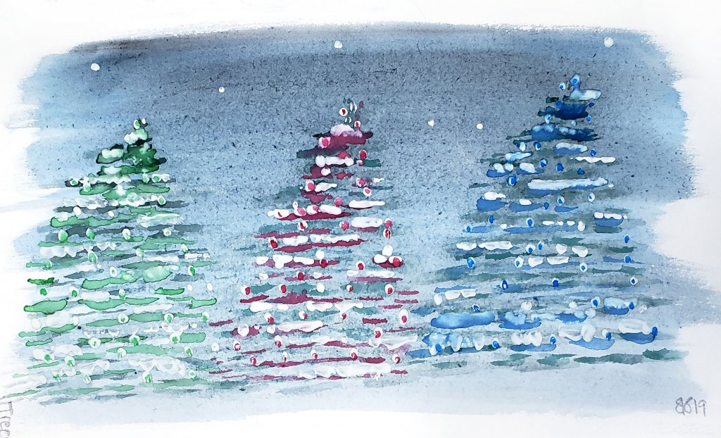 Shanyn Silinski Watercolor Winter Trees Featured